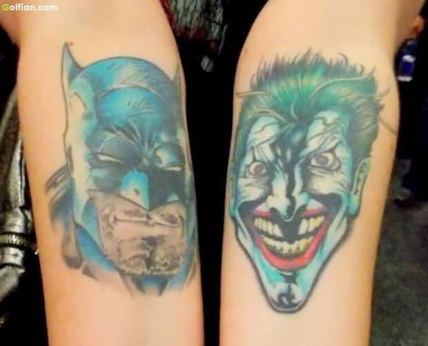 Amazing Batman and Joker Face Tattoo Design On Both Arms