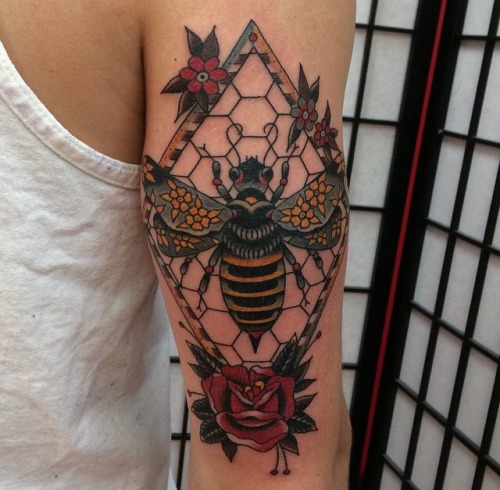 Amazing Black Bee Red Rose Flower Tattoo Design For Back Sleeve