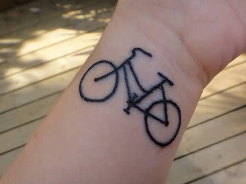 Amazing Black Bicycle Tattoo Design For Women Wrist