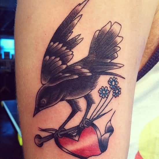 Amazing Black Crow Tattoo Made On Men Upper Arm