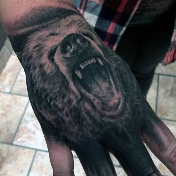 Amazing Grey 3d Bear Face Tattoo On Men Hand
