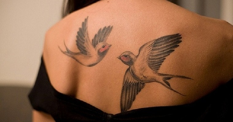 Amazing Swallow Bird Tattoo Made On Women Back Body