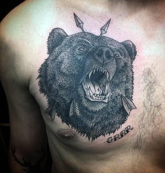 Angry Dead Bear By Arrow Tattoo On Men Chest
