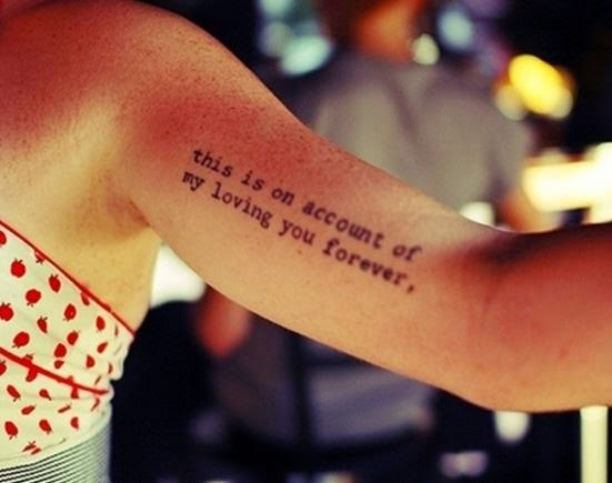 Awesome Bicep Quote Tattoo Idea For Modern Girls