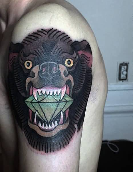 Awesome Smiling Bear Diamond Tattoo For Men Shoulder