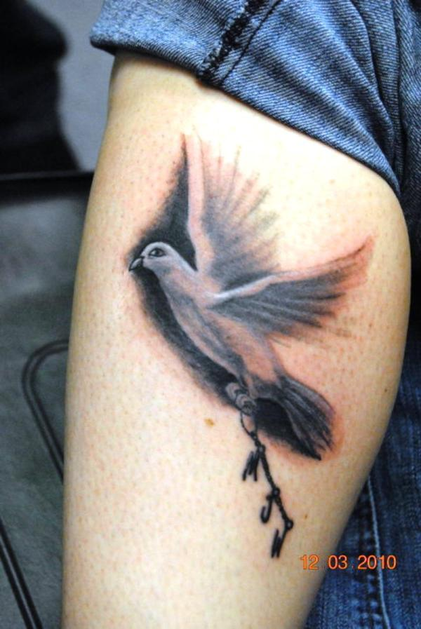 Awesome White 3d Flying Bird Tattoo For Girl Leg