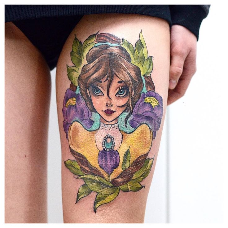 Beautiful Animated Girl Tattoo On Thigh