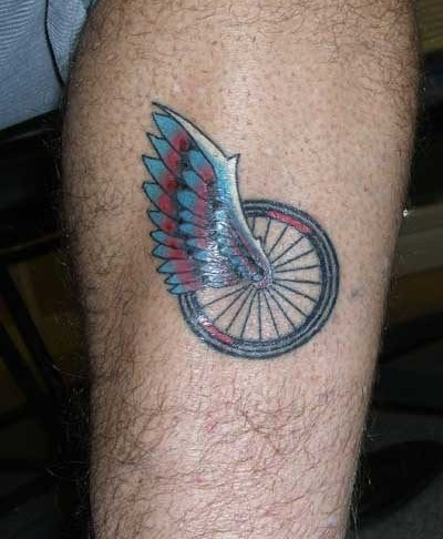 Beautiful Bicycle Wheel With Angel Wings Tattoo On Leg