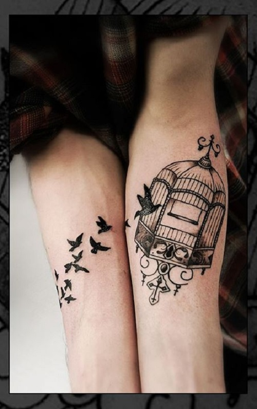 Beautiful Collaboration Of Bird And Cage Tattoo On Sleeve