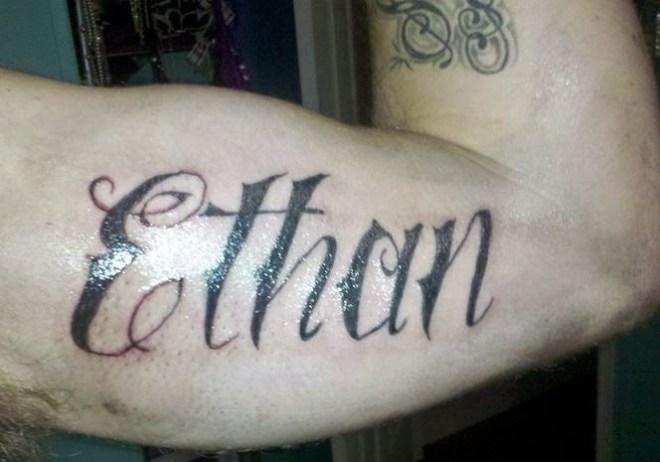 Beautiful Ethan Name Bicep Tattoo Design For Men