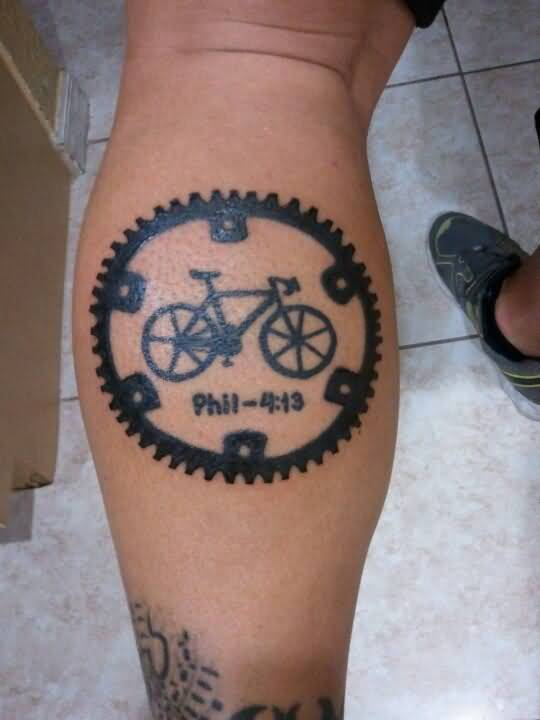 Best Bicycle Logo With Chain Set Design On Men Calf