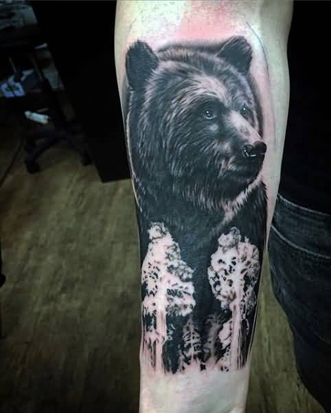 Black Forest Wild Bear Tree Tattoo For Men Lower Sleeve