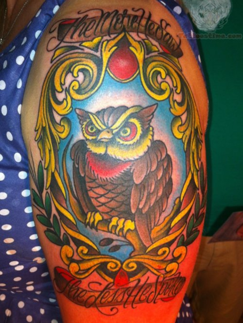 Brilliant Angry Animated Owl Mirror Tattoo On Men Shoulder