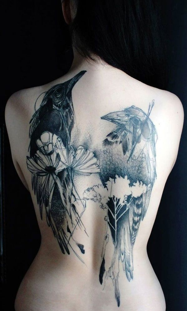 Brilliant Crow Bird Tattoo With Flower On Back Body