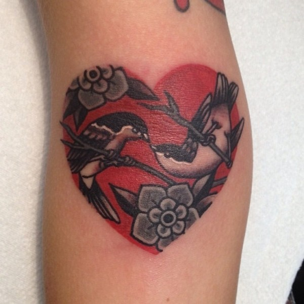 Charming Red Love Bird Heart Tattoo For Women Sleeve