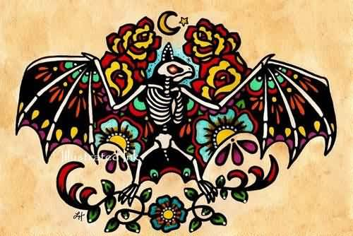 Colorful Bat Tattoo Design With Bones On Paper