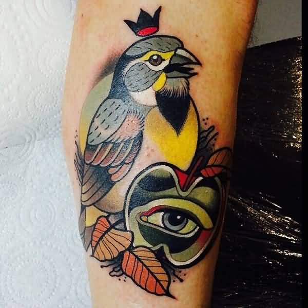 Colorful Small King Bird With Apple Eye Tattoo On Leg
