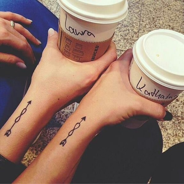 Coolest Arrow Infinity Tattoo Design For Couple Arm