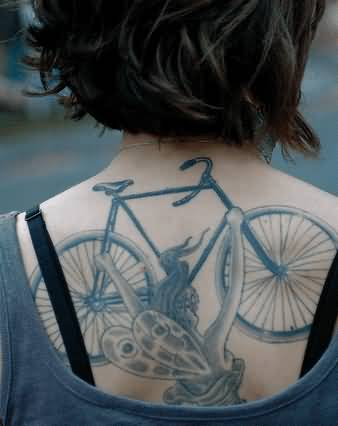Coolest Bicycle Fairy Girl Tattoo Design Made On Back Body