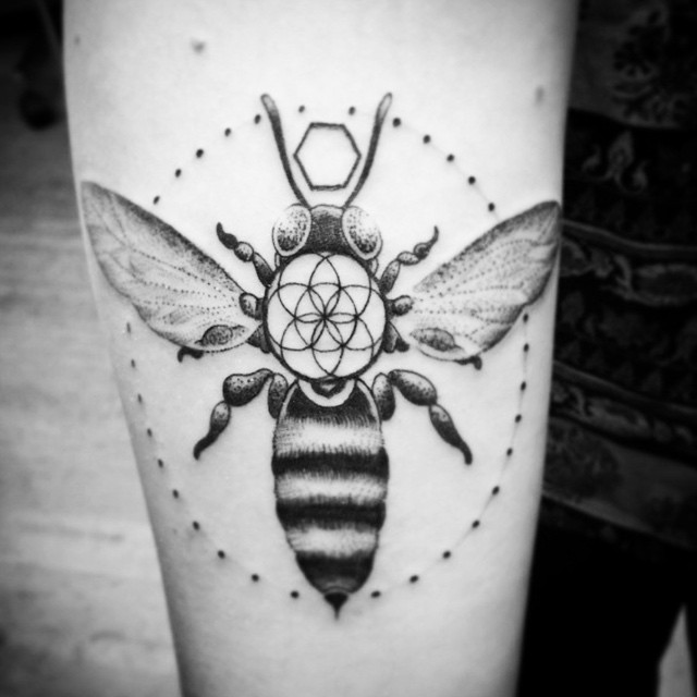 Coolest Black Bee Dot Tattoo Design Made On Sleeve