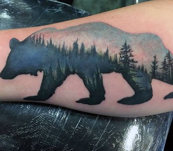 Coolest Forest In Bear Tattoo For Men Sleeve