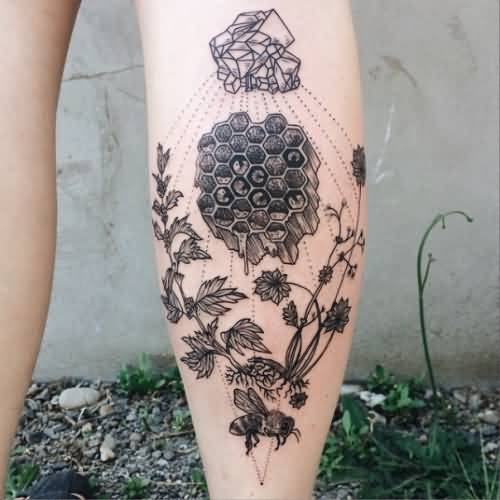Coolest Grey Bee Plant Tattoo Design Made On Girl Calf