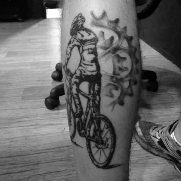 Coolest Grey Bicycle Rider Chain Set Tattoo On Men Calf