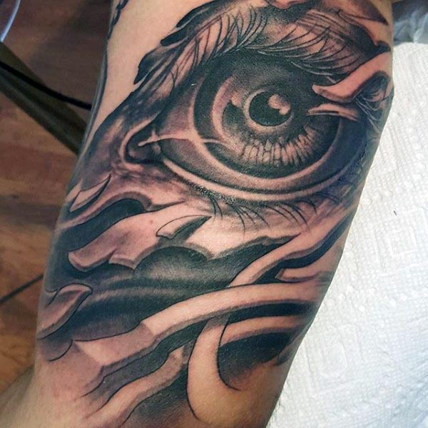 Coolest Grey Ink Bicep Tattoo Of 3d Eye For Men