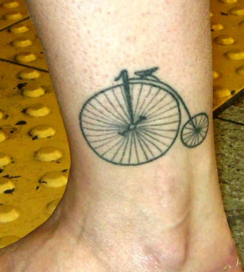 Coolest Grey Ink Bicycle Tattoo Made On Men Ankle