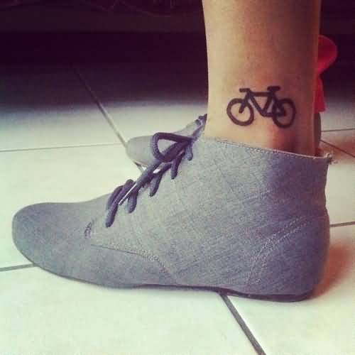 Coolest Small Bicycle Tattoo Idea For Girl Ankle