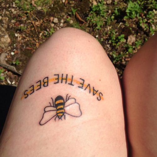Coolest Small Yellow Bee With Quote Tattoo On Thigh