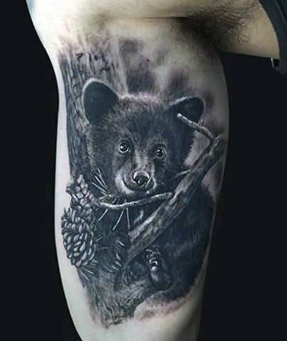Coolet Bear Black Baby Tattoo Idea For Men Inner Arm