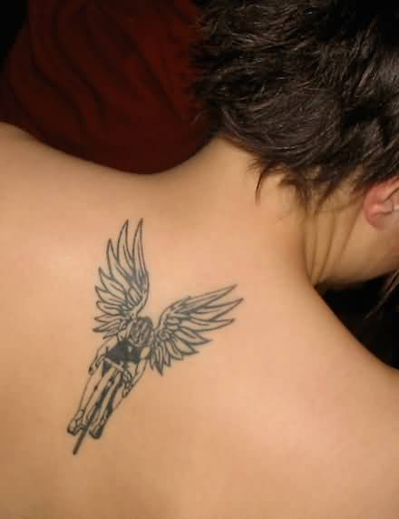 Cute Angel Riding Bicycle Tattoo For Girl Back