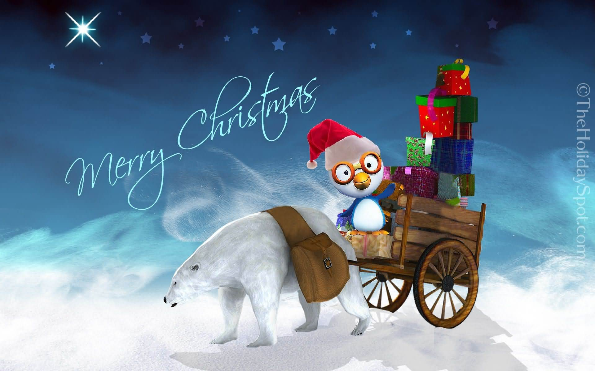 Cute Merry Christmas Greetings Wallpaper Image