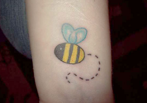 Cute Small Bee Outline Tattoo For Girl Sleeve