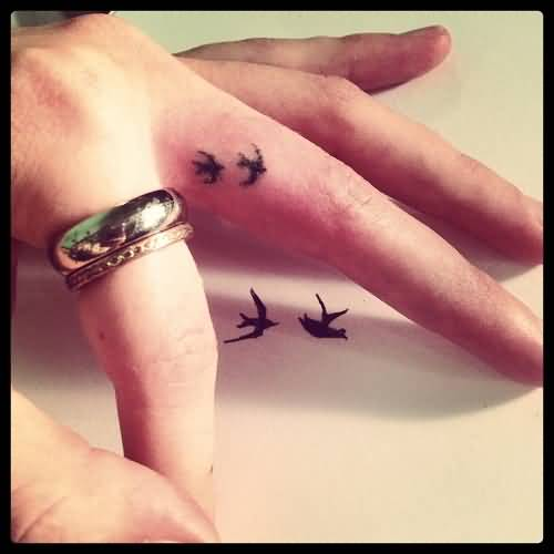 Cute Small Bird Tattoo For Women Middle Finger