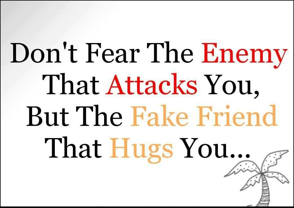 Don't Fear The Enemy That Attacks You But The Fake Friend
