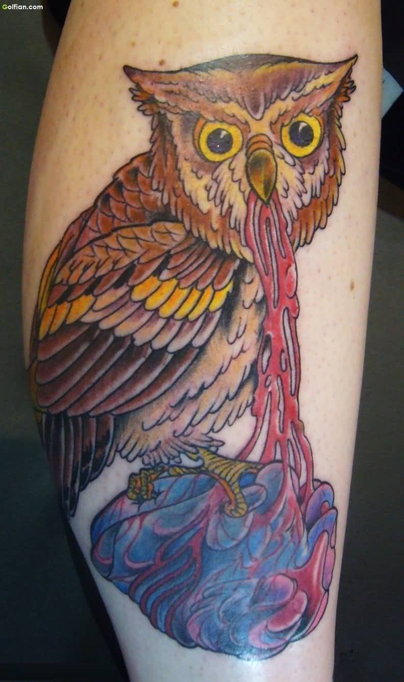 Fabulous Animated Owl and Heart Tattoo For Men Leg