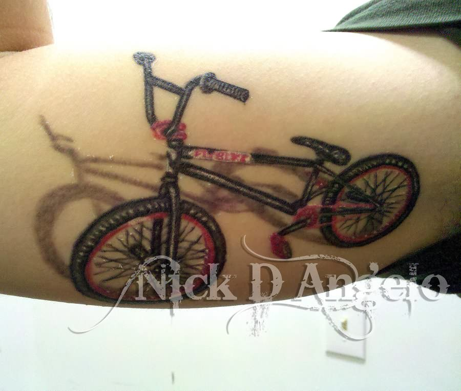 Fabulous BMX Bicycle Tattoo Made On Men Bicep