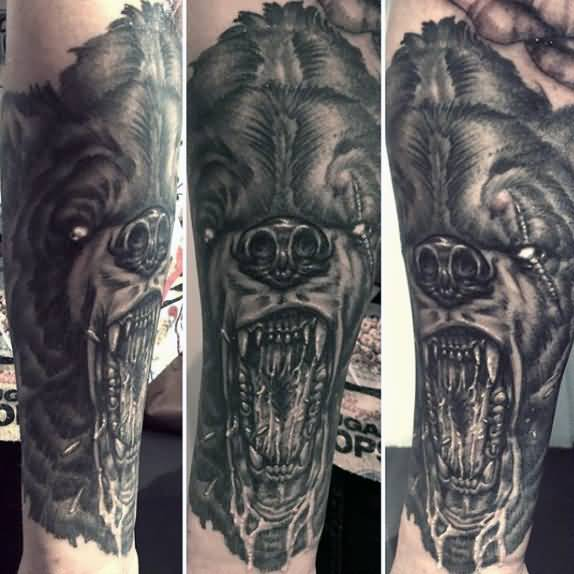 Fabulous Bear Grey Mouth Tattoo For Men Lower Sleeve