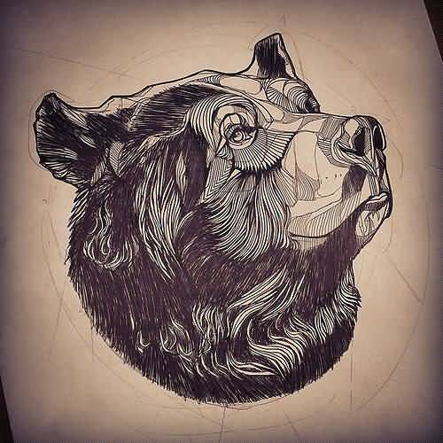 geometric bear tattoo on paper. Black Bedroom Furniture Sets. Home Design Ideas