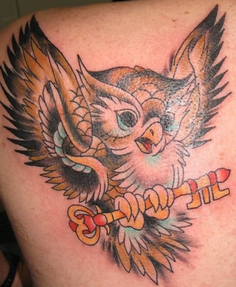 Fantastic Animated Baby Owl and Key Tattoo For Back Body