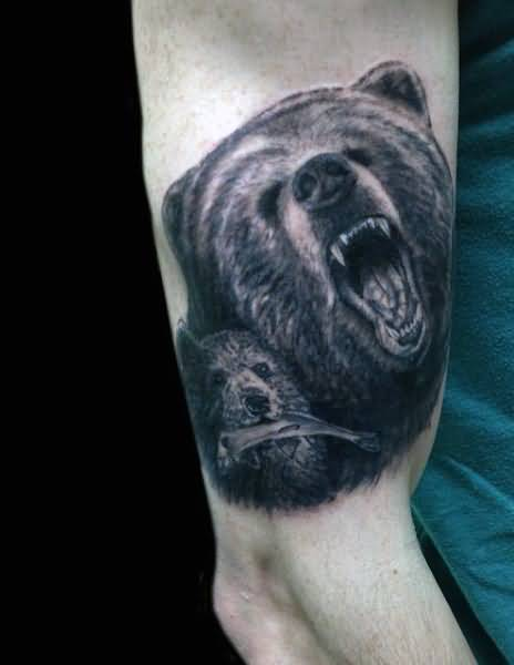 Fantastic Bear Face With Baby Bear Tattoo On Men Upper Arm