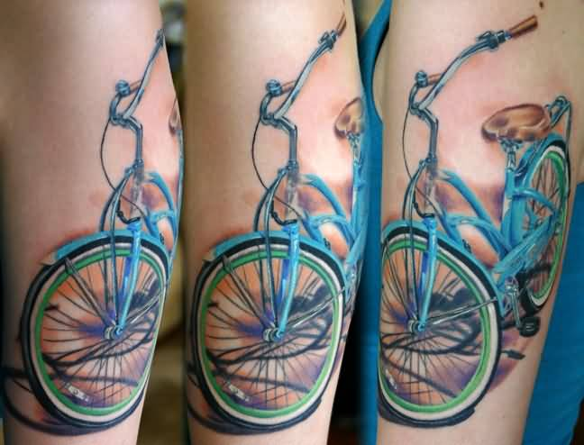 Funky 3d Stunt Bike Tattoo For Men Forearm