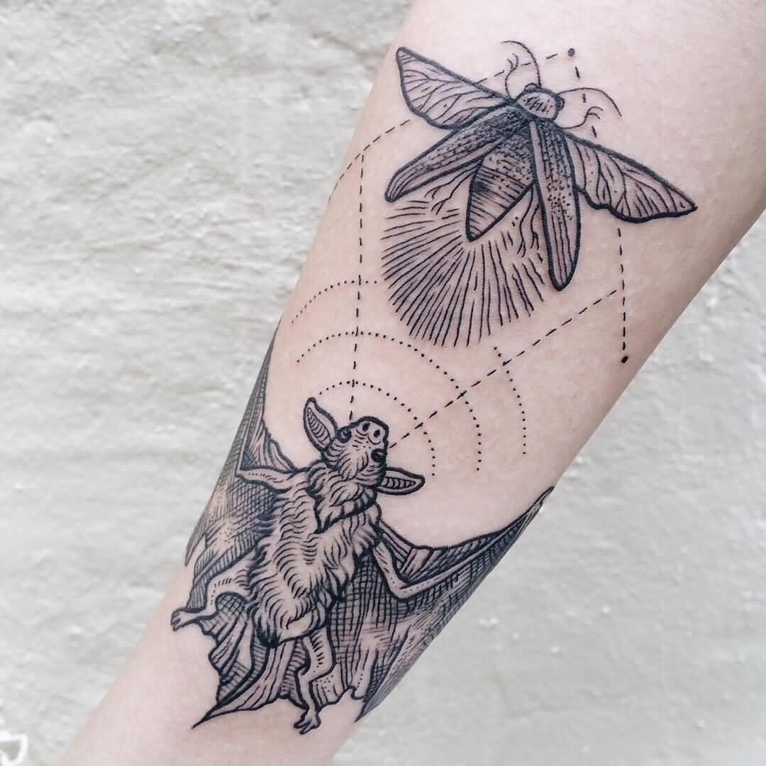 Grey Ink Bat Tattoo Design For Women Sleeve