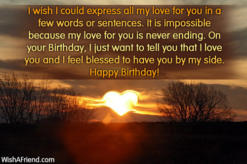 Birthday words for my love