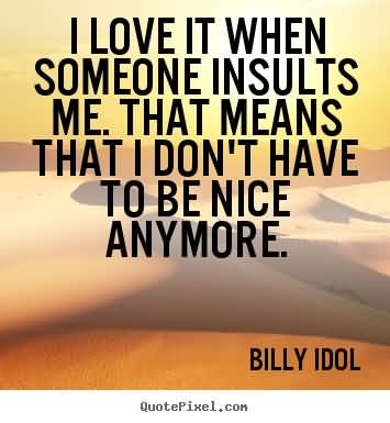 I love it when someone insults me. That means that I don't have to be nice anymore.Billy Idol