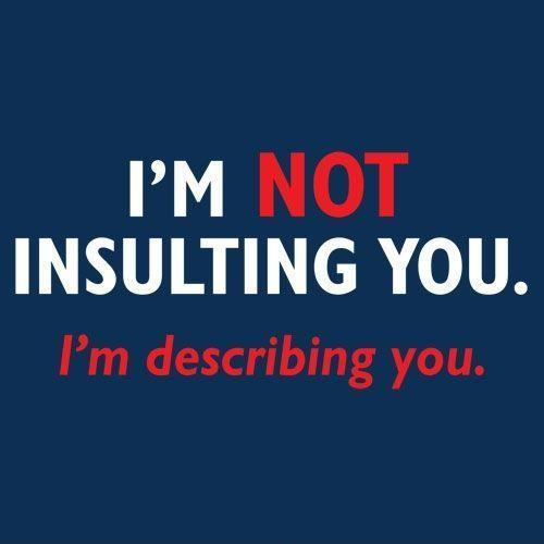 I'm not insulting you. I'm describing you