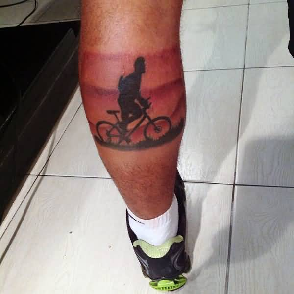 Impressive Rider Bicycle Tattoo For Men Calf