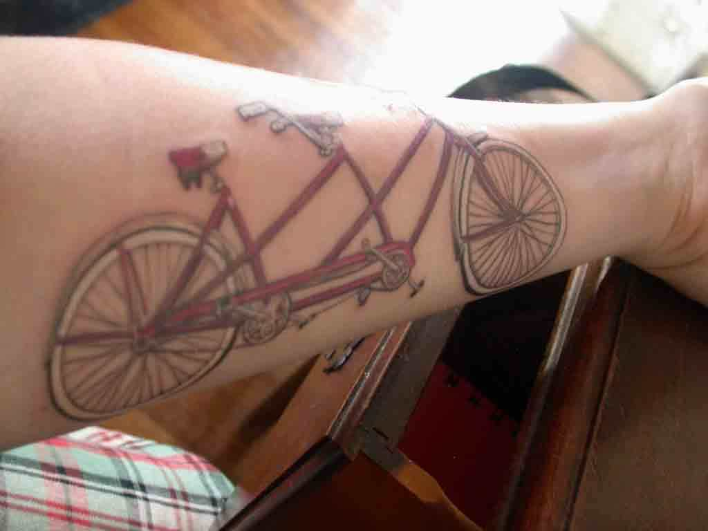 Impressive Tandem Bicycle Tattoo For Women Lower Sleeve